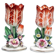 Antique Porcelain Staffordshire Tulip Shaped Flower Vases, circa 1835