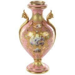 Antique Porcelain Vase Pink Jeweled & Hand Painted, Coalport, England circa 1900