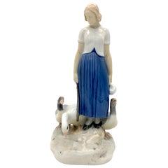 Antique Pordelain Sculpture Maiden with Goose Bing&Grøndahl A. Locker Kopenhagen