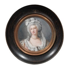 Antique Portrait Miniatures of Fashionable Lady