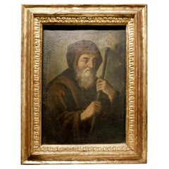 Antique Portrait of a Friar Oil Painted on Canvas, Gilded Frame, '700, Italy