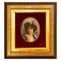 Antique Portrait of a Young Boy on Porcelain Mounted on Plaque, circa 1880-1890