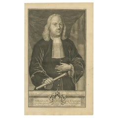 Antique Portrait of Abraham van Riebeeck by Valentijn, 1726