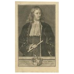 Antique Portrait of Christoffel Van Swoll by Valentijn, 1726