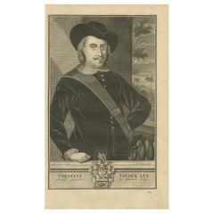 Antique Portrait of Cornelis van der Lijn by Valentijn, '1726'