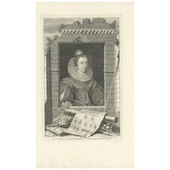 Antique Portrait of Elizabeth, Queen of Bohemia, by G. Vertue, circa 1750