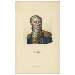 Antique Portrait of French General Honoré Vial by Tardieu, 'c.1820'
