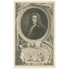 Antique Portrait of George Byng by J. Houbraken, 1747