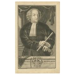 Antique Portrait of Hendrick Zwaardecroon by Valentijn, '1726'