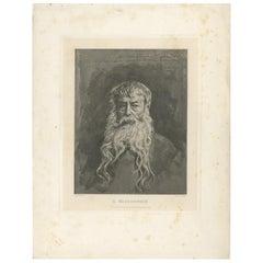 Antique Portrait of Jean-Louis-Ernest Meissonier by Dujardin, circa 1880