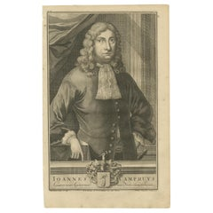 Antique Portrait of Johannes Camphuys by Valentijn, '1726'
