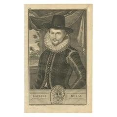 Antique Portrait of Laurens Reael by Valentijn, 1726
