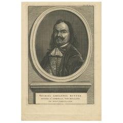 Antique Portrait of Michiel De Ruyter by B. Picart, 1728