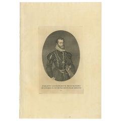 Antique Portrait of Philip II by Von Prenner, 1748