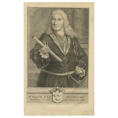 Antique Portrait of Willem van Outhoorn by Valentijn, 1726