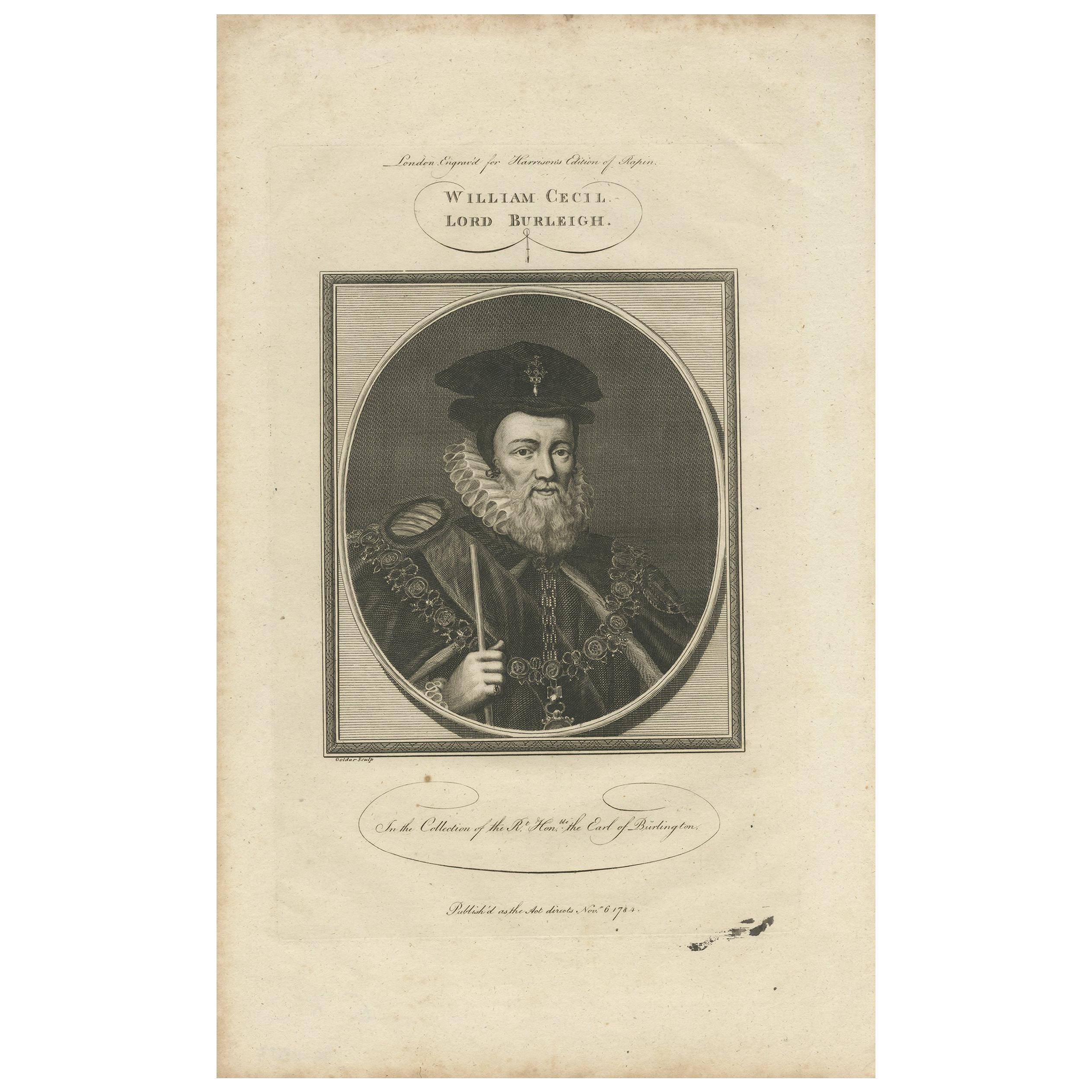Antique Portrait of William Cecil by Goldar, 1784