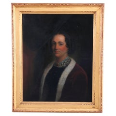Antique Portrait Painting of a Woman in Newcomb Macklin School Frame, c1910