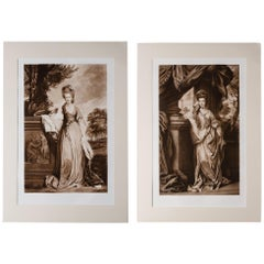 Antique Portrait Prints of Noblewomen: Pair