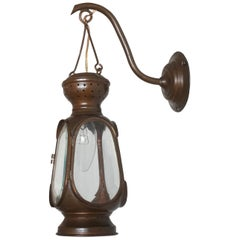 Antique Portugiese Copper Electrified Wall Lantern with Faceted Glass Panels