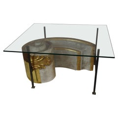 Antique Portuguese Architectural Fragment Table with Custom Glass Top