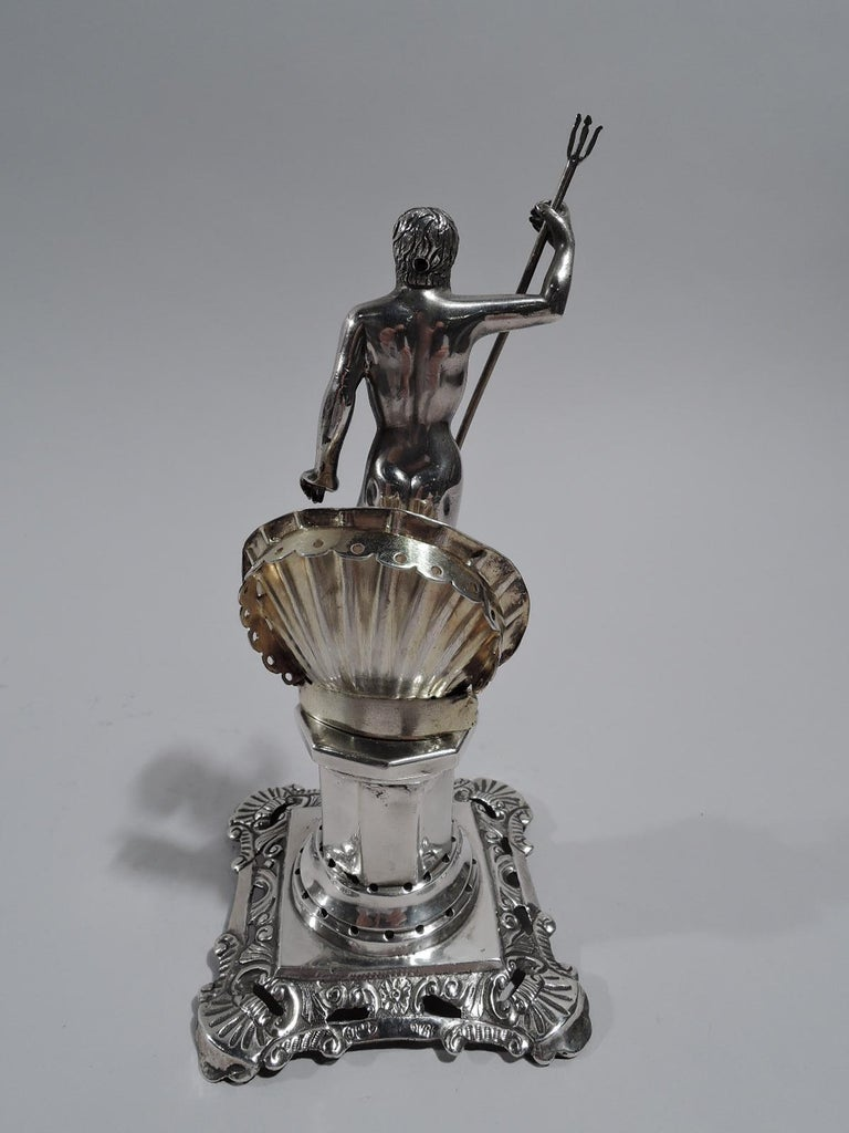 Antique Portuguese Neoclassical Silver Neptune Toothpick Holder In Excellent Condition For Sale In New York, NY