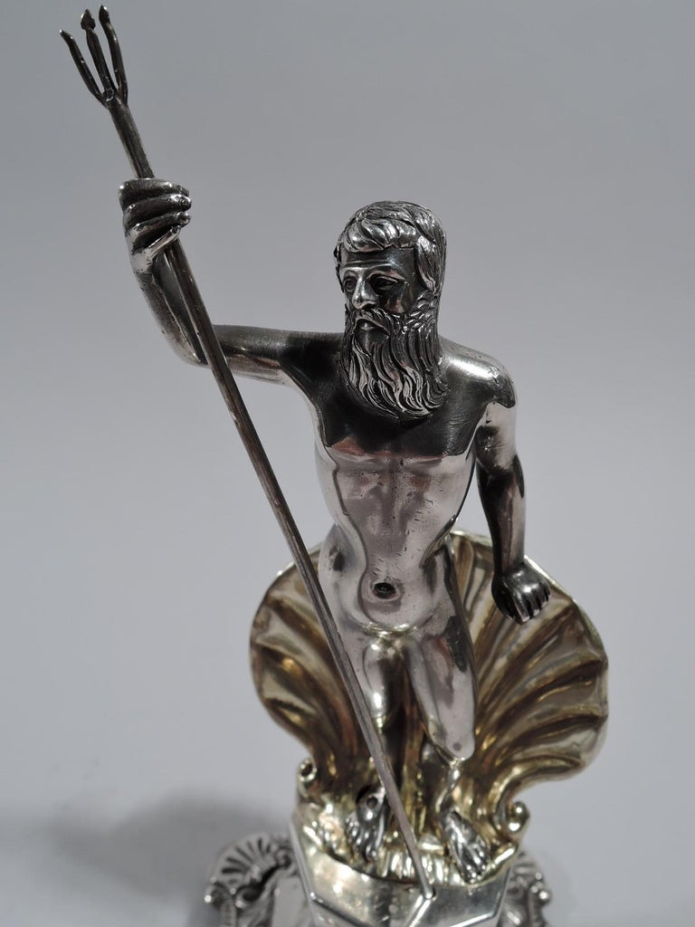 19th Century Antique Portuguese Neoclassical Silver Neptune Toothpick Holder For Sale