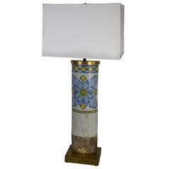 Antique Portuguese Roof Tile Lamp