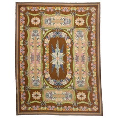 Antique Portuguese Savonnerie Needlepoint Palace Rug with French Aubusson Style