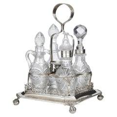 Antique Portuguese Silver and Cut Glass Cruet Set
