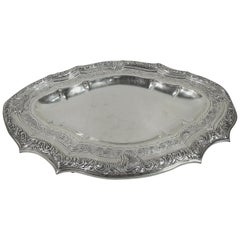 Antique Portuguese Silver Serving Tray with Beautiful Patina