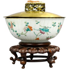 Antique Potter & Wellen Chinese Porcelain Bowl with Brass & Jade Lid, circa 1880