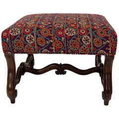 Antique Pouf with New Upholstery