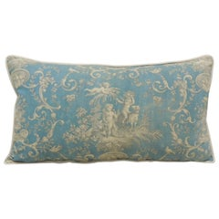Antique Powder Blue and Natural Printed Toile Bolster Decorative Pillow