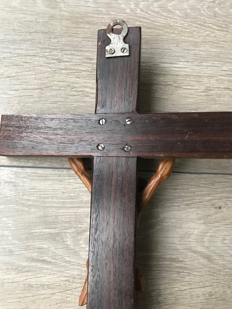 Antique Practical Size, Handcrafted Christ on Macassar Cross Home Wall Crucifix For Sale 4