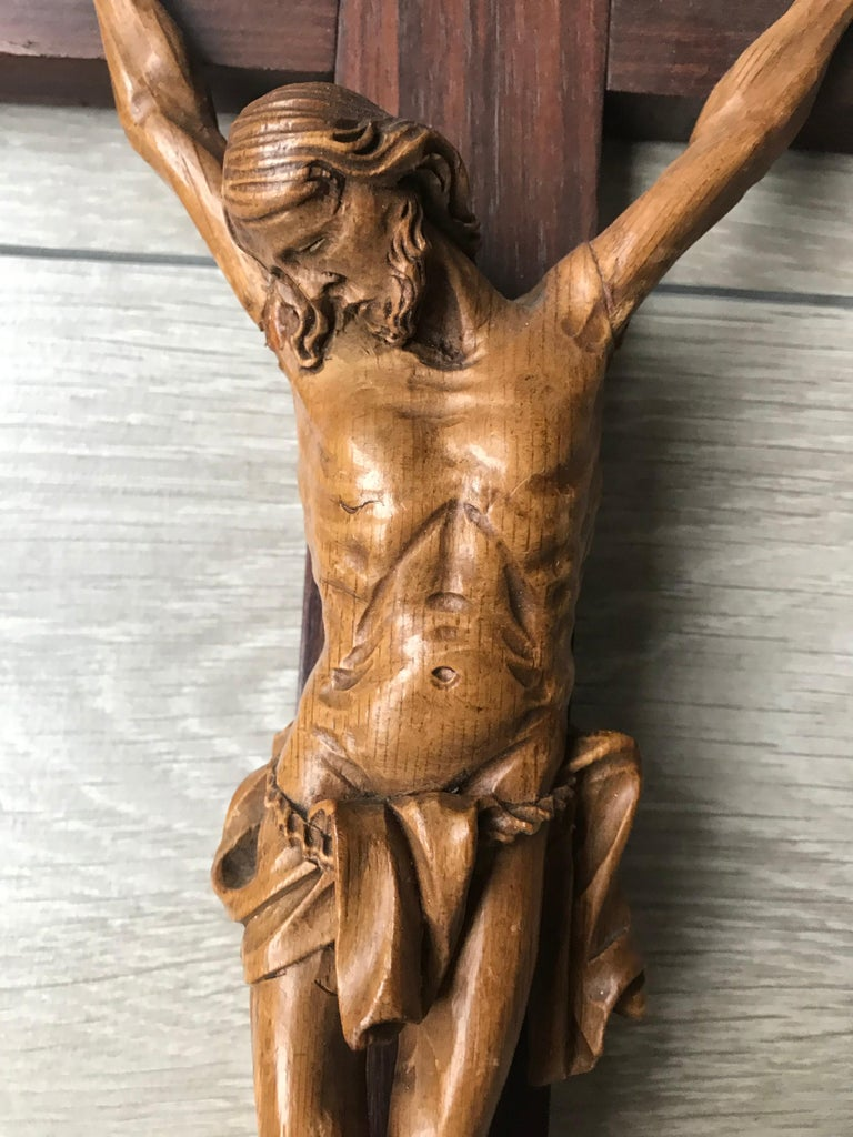European Antique Practical Size, Handcrafted Christ on Macassar Cross Home Wall Crucifix For Sale