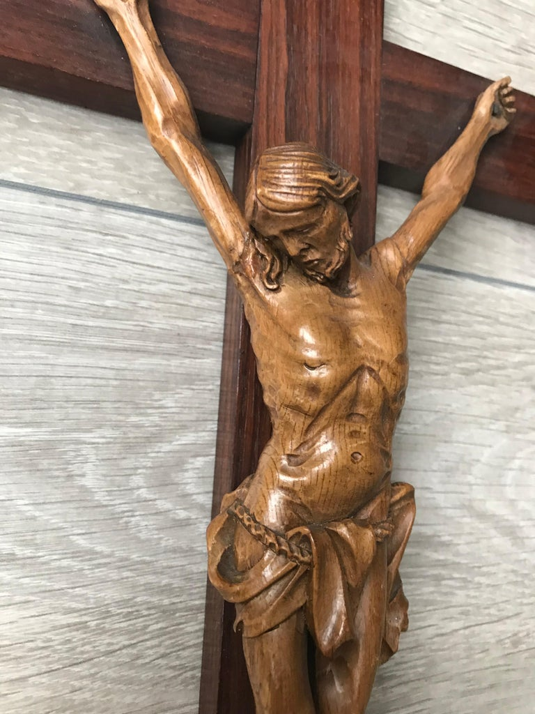 Hand-Carved Antique Practical Size, Handcrafted Christ on Macassar Cross Home Wall Crucifix For Sale