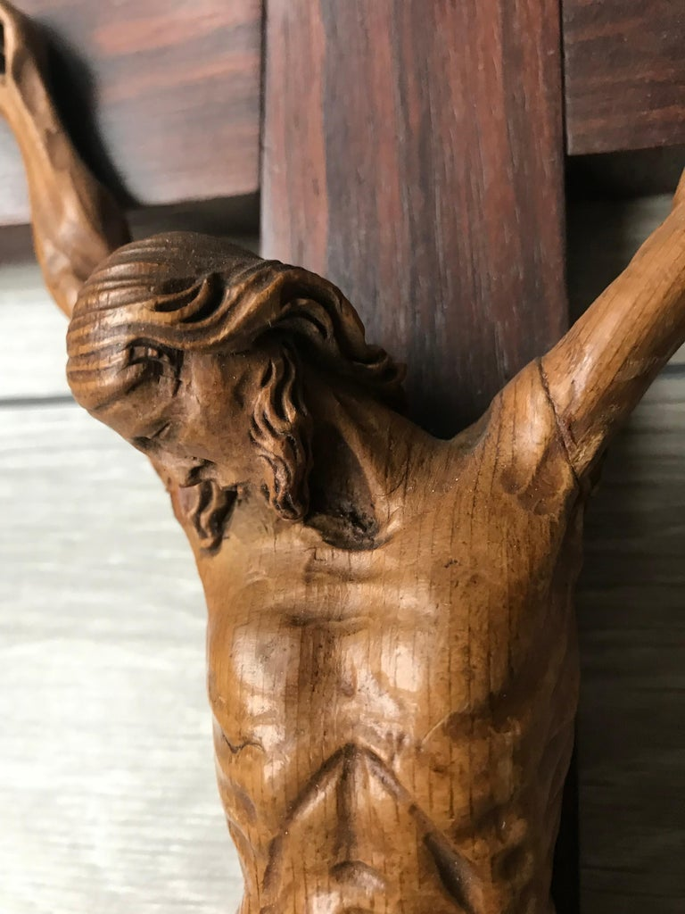 20th Century Antique Practical Size, Handcrafted Christ on Macassar Cross Home Wall Crucifix For Sale