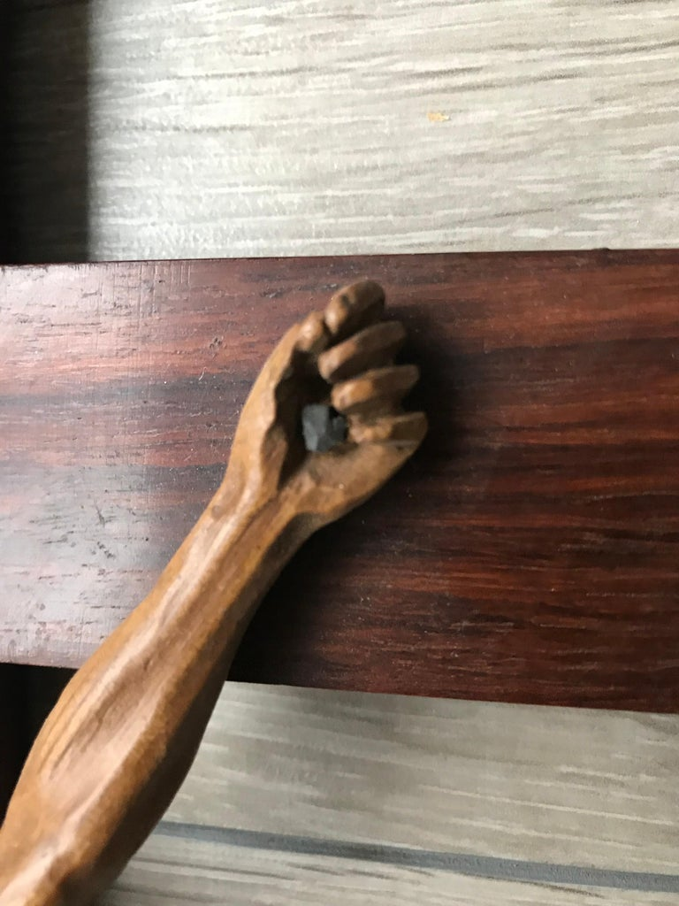 Antique Practical Size, Handcrafted Christ on Macassar Cross Home Wall Crucifix For Sale 1