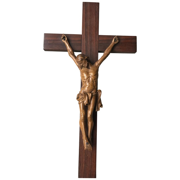 Antique Practical Size, Handcrafted Christ on Macassar Cross Home Wall Crucifix For Sale