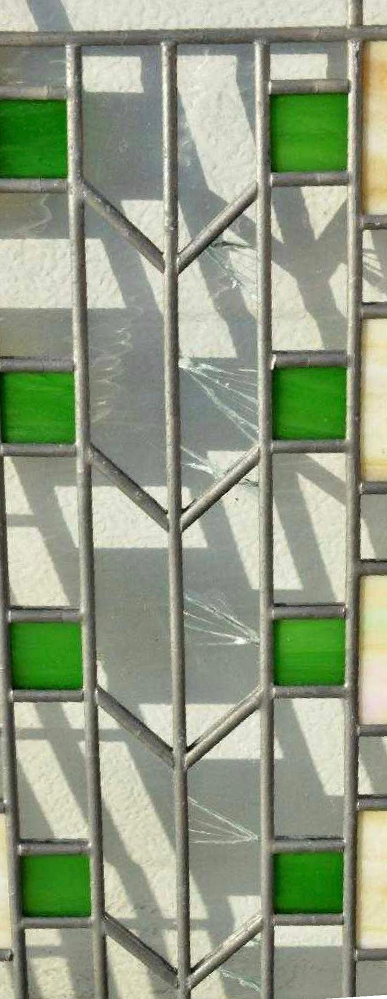 Antique Prairie School Frank Lloyd Wright Leaded Glass Light Screen, Iron Frame In Fair Condition For Sale In Brooklyn, NY