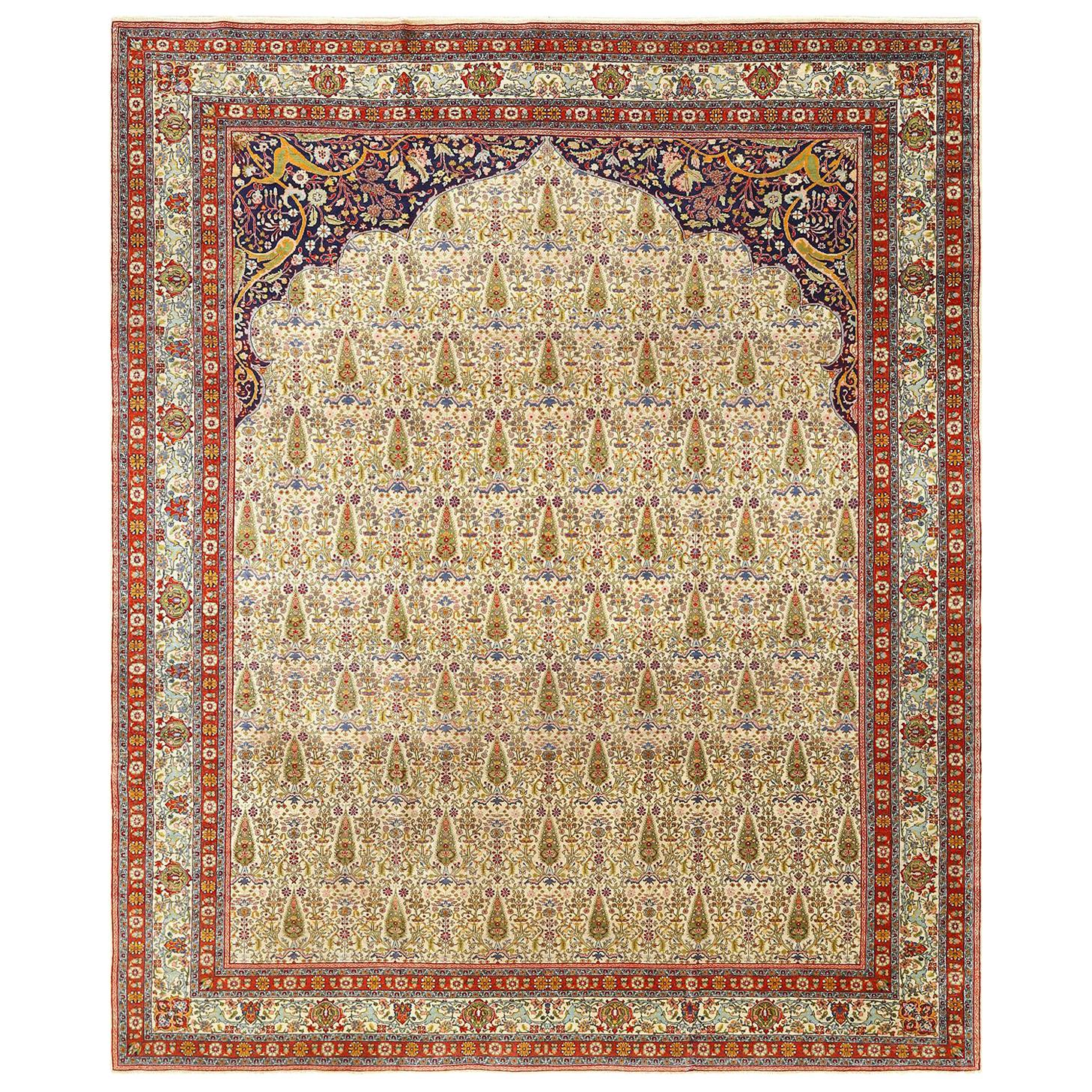 Antique Prayer Design Tabriz Persian Rug. Size: 8 ft 1 in x 9 ft 10 in