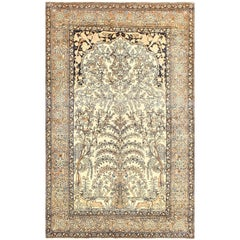 Antique Prayer Tree of Life Persian Isfahan Rug. Size: 4 ft 5 in x 7 ft