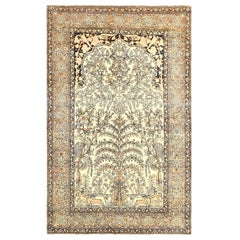 Antique Prayer Tree of Life Persian Isfahan Rug. Size: 4 ft. 5 in x 7 ft