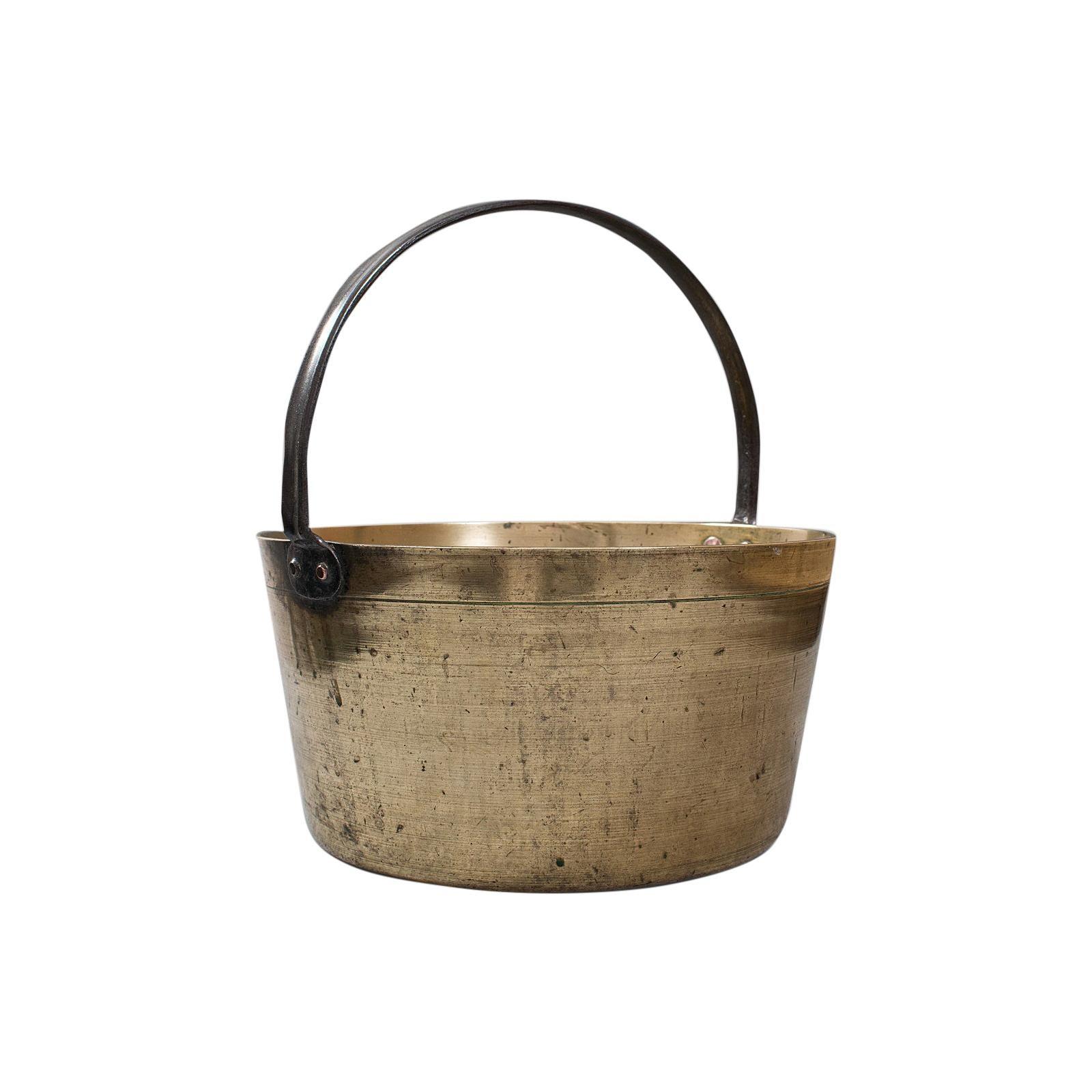 Antique Preserving Pan, English, Heavy Brass, Jam, Cooking Pot, Georgian, C 1800