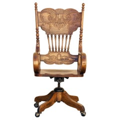 Antique Pressed Back Oak Steno Chair
