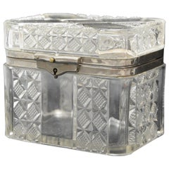 Antique Pressed Glass Lidded Casket