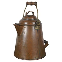 Antique 19th Century Copper Coffee Kettle Campfire Pot Navy Bail
