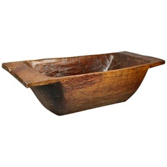 Antique Primitive Americana Hand Carved Wooden Dough Bowl, circa 1840