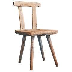 Antique Primitive Children's Chair in Wood from Dalarna, Sweden, 1820's
