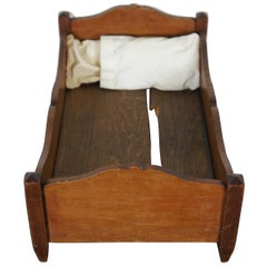 Antique Primitive Early American Miniature Salesman Sample Walnut Doll Bed
